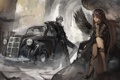 Картинка машина, девушка, дым, крылья, аниме, арт, цепь
