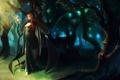 Картинка лес, девушка, деревья, листва, ветка, посох