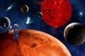 Картинка космос, планеты, корабль, много