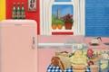 Картинка цветы, интерьер, апельсины, картина, окно, сок, холодильник
