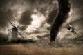 Картинка поле, дым, катастрофа, мельница, трактор, метеорит