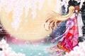 Картинка взгляд, улыбка, девушки, сакура, объятья, art, dusk/dawn