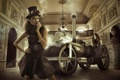 Картинка взгляд, девушка, ретро, шляпа, автомобиль, fashion, цилиндр