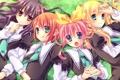 Картинка трава, девушки, аниме, арт, форма, школьницы, звездочки