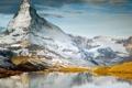 Картинка склоны, небо, природа, снег, озеро, гора
