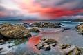 Картинка море, облака, камни, скалы, зарево