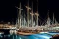 Картинка ночь, огни, дома, яхта, гавань, Монако, Монте-Карло