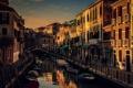 Картинка Венеция, канал, лодки, окна, балконы, дома, Италия