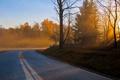 Картинка пейзаж, осень, дорога, утро
