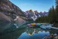 Картинка лес, горы, озеро, вечер, лодки