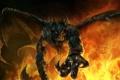Картинка корона, рога, Демон, крылья, меч, пламя