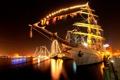 Картинка гавань, Город, ночь, вода, мачта, огни, порт