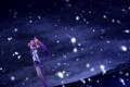 Картинка девушка, снег, горы, ночь, аниме, арт, izumi mahiru