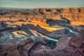 Картинка небо, пейзаж, закат, река, обрыв, скалы, горизонт