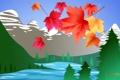 Картинка листья, деревья, пейзаж, горы, озеро, путешествия, Канада