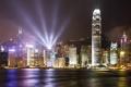 Картинка река, ночные огни, дома, Китай, Гонконг ночь