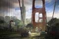 Картинка мост, город, апокалипсис, арт, The Last of Us