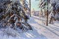 Картинка зима, снег, деревья, пейзаж, елки, картина, тени