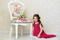 Картинка тюльпаны, ребенок, девочка, цветы