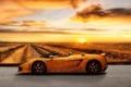 Картинка дорога, поле, небо, закат, узоры, Lamborghini