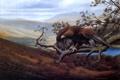 Картинка пейзаж, птица, ветка, арт, орёл, David J Lawrence