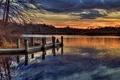 Картинка Park, trail, sky, Blydenburgh, docks, sunset