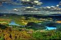 Картинка облака, деревья, мост, природа, река, деревня, леса