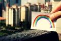 Картинка city, город, бумага, краски, рисунок, Радуга, rainbow