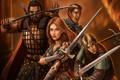 Картинка девушка, оружие, меч, войны, арт, компания, мужчины