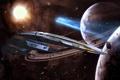 Картинка космос, bioware, нормандия, sr2, mass effect, планеты