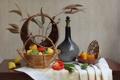 Картинка натюрморт, овощи, сухоцвет, корзинки, графин