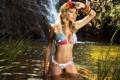 Картинка водопад, купальник, блондинка