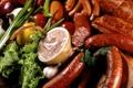 Картинка сосиски, лук, перец, овощи, колбаса, чеснок