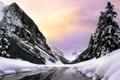 Картинка холод, зима, лес, вода, облака, снег, деревья