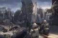 Картинка город, оружие, здания, арт, солдаты, битва, выстрелы