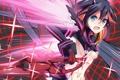 Картинка взгляд, девушка, оружие, кровь, меч, нити, взмах