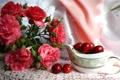 Картинка розы, платок, вишня, лето, ягоды, цветы