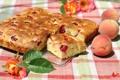 Картинка роза, пирог, персики, выпечка