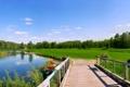 Картинка поле, небо, мост, река