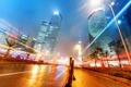 Картинка дорога, дома, Китай, Гонконг ночью, Легкие трассы в Шанхае