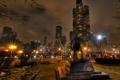 Картинка ночь, огни, парк, люди, небоскребы, чикаго, Chicago