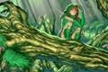 Картинка Dota 2, сидит, Windranger, бабочка, девушка, рисунок, дерево