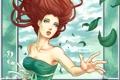 Картинка листья, девушка, руки, платье, арт, зеленое, лицо. волосы