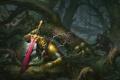 Картинка лес, деревья, болото, меч, корона, труп, странник