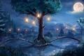 Картинка art, река, ночь, луна