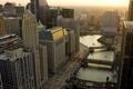 Картинка река, небоскребы, вечер, чикаго, Chicago