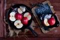 Картинка яблоки, сахар, сковорода