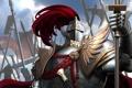 Картинка красный, оружие, армия, перья, воин, арт, рыцарь