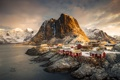 Картинка свет, горы, утро, Норвегия, городок, поселение, архипелаг
