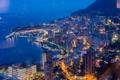 Картинка море, пейзаж, ночь, огни, побережье, вид сверху, Монако